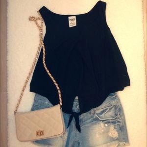 Victoria's Secret PINK Black Crop Top Size XS